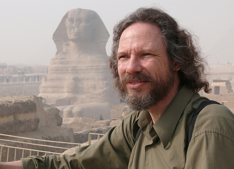 Photograph of Robert Schoch in front of the Great Sphinx