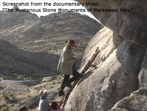 Screen capture from The Mysterious Stone Monuments of Markawasi Peru