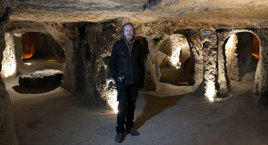 Robert Schoch in the underground city of Kaymakli, in Cappadocia, Turkey