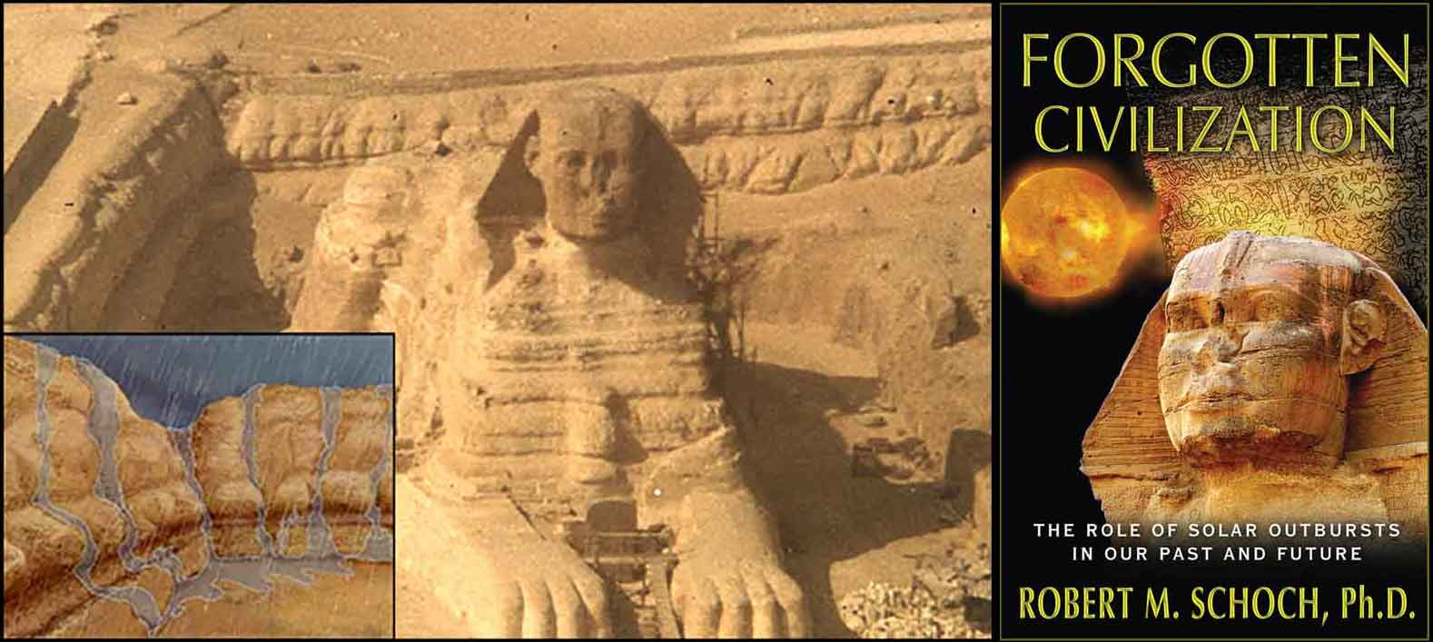 A combined image of the Great Sphinx and cover of Dr. Schoch's book, Forgotten Civilization