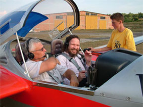 Image of Robert Schoch in small airplane