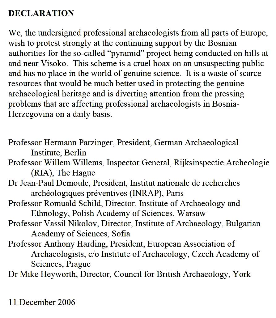 Image of the Declaration from prominent European archaeologists