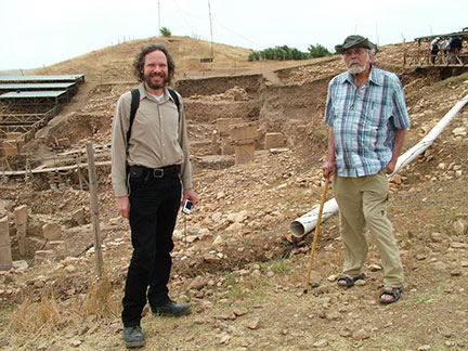 Image of Robert Schoch and John Anthony West at Göbekli Tepe in 2010