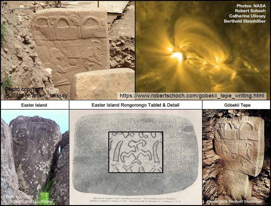Image montage of Pillar 43 at Göbekli Tepe, a solar flare, a rongorongo tablet, and  					Easter Island petroglyph