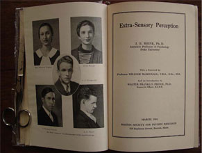 Image of the title page of the groundbreaking monograph by Dr. J. B.  					Rhine, titled Extra-Sensory Perception, 1934