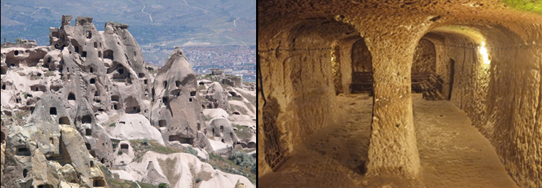 Image of above and underground rock shelters in Cappadocia