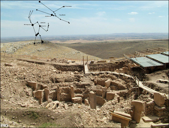 Overview image of Göbekli Tepe looking slightly southeast  					towards the horizon, with an approximation of the constellations Orion and  					Taurus as they would appear in the sky