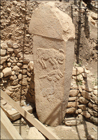 Image of the first pillar found at Göbekli Tepe