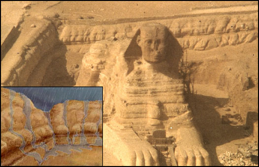 Image of the Great Sphinx of Egypt in its enclosure, combined with an  					illustration showing the deep fissures and undulating surfaces created  					by water (rainfall) weathering